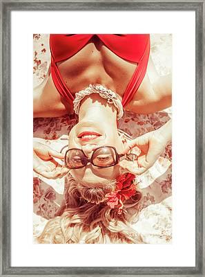 Retro 50s Beach Pinup Girl Framed Print