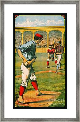 Retro Baseball Game Ad 1885 A Crop Framed Print