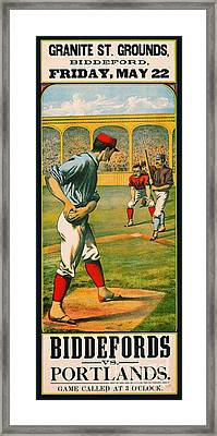Retro Baseball Game Ad 1885 A Framed Print