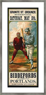 Retro Baseball Game Ad 1885 B Framed Print
