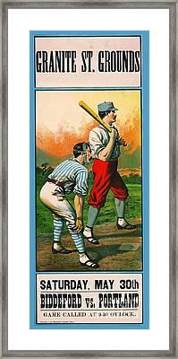 Retro Baseball Game Ad 1885 C Framed Print