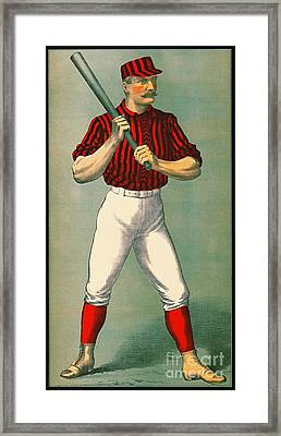 Retro Baseball Game Ad 1885 Crop Framed Print by Padre Art