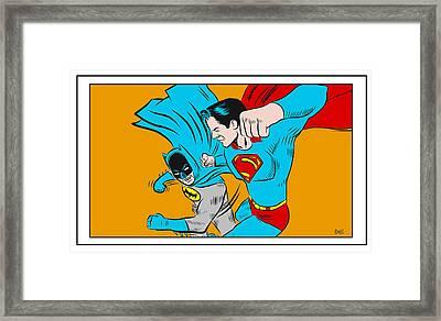 Framed Print featuring the digital art Retro Batman V Superman by Antonio Romero
