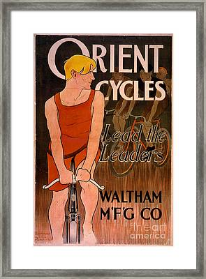 Framed Print featuring the photograph Retro Bicycle Ad 1890 by Padre Art