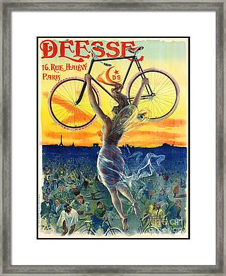 Framed Print featuring the photograph Retro Bicycle Ad 1898 by Padre Art