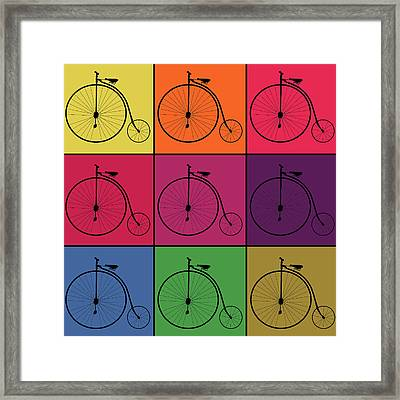 Retro Bicycle Pop Art Collage Framed Print by Art Spectrum