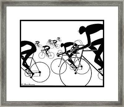 Retro Bicycle Silhouettes 1986 Framed Print