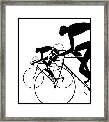 Retro Bicycle Silhouettes 2 1986 Framed Print