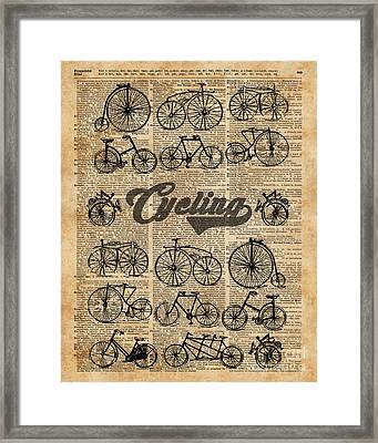 Retro Bicycles Vintage Illustration Dictionary Art Framed Print by Jacob Kuch