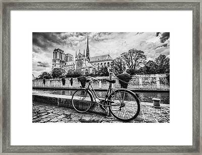Retro Bike Next To Notre Dame Cathedral In Paris, France. Black And White Framed Print by Michal Bednarek