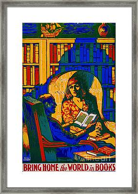 Framed Print featuring the photograph Retro Books Poster 1920 by Padre Art