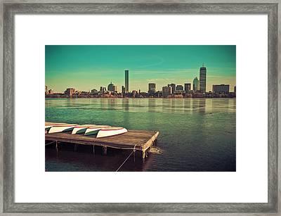 Retro Boston Framed Print by Andrew Kubica