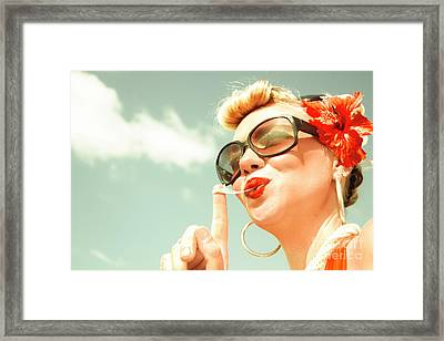 Retro Bubblegum Pin-up Framed Print
