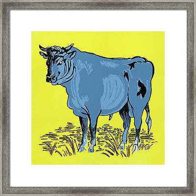 Retro Bull Framed Print by Sonja Olson