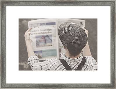 Retro Business Man Reading Bygone News Framed Print by Jorgo Photography - Wall Art Gallery