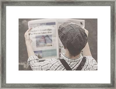Retro Business Man Reading Bygone News Framed Print