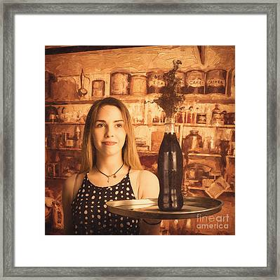 Retro Cafe Tin Sign Waitress Framed Print