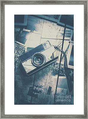 Retro Camera And Instant Photos Framed Print by Jorgo Photography - Wall Art Gallery