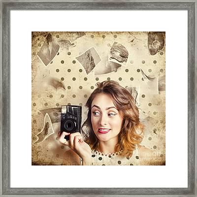 Retro Camera Girl With Instant Idea Framed Print