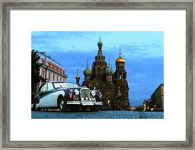 Retro Car Bentley On The Background Of The Architectural Dominants Of The City Centre Of Saint Peter Framed Print