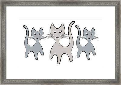 Retro Cat Graphic In Grays Framed Print