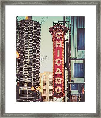 Retro Chicago Theatre Sign Framed Print by Emily Kay