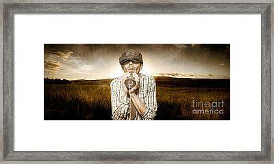 Retro Child Communicating Through Tin Can Phone Framed Print by Jorgo Photography - Wall Art Gallery