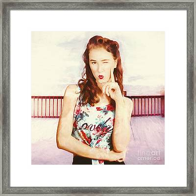 Retro Clip Art Of A Thinking Pin-up Woman Framed Print by Jorgo Photography - Wall Art Gallery