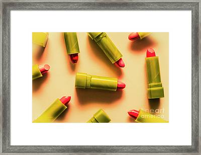 Retro Cosmetic Lipstick Background Framed Print by Jorgo Photography - Wall Art Gallery