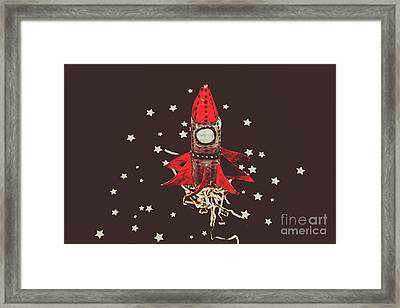 Retro Cosmic Adventure Framed Print