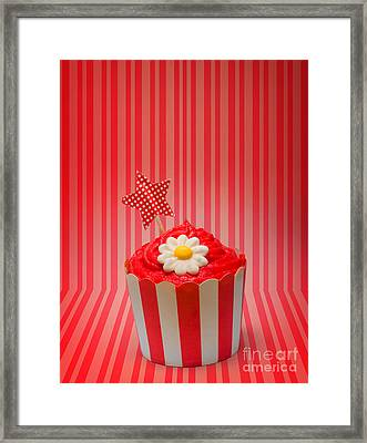Retro Cupcake With Star And Flower Icing Framed Print