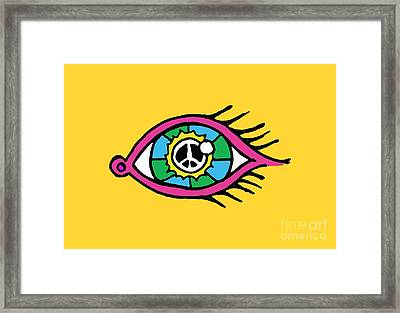 Retro Design Hippy Design 60s And 70s See The World Peacefully Framed Print by Paul Telling