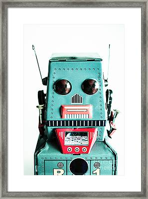 Retro Eighties Blue Robot Framed Print
