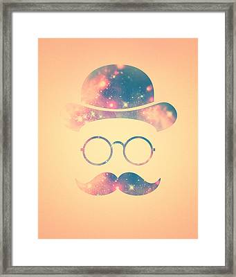 Retro Face With Moustache And Glasses  Universe  Galaxy Hipster In Gold Framed Print