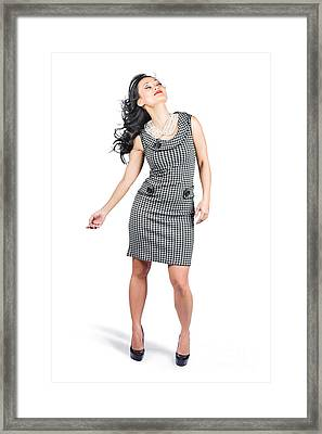 Retro Fashion Beauty. Full Length Portrait Framed Print by Jorgo Photography - Wall Art Gallery