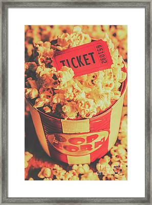 Retro Film Stub And Movie Popcorn Framed Print