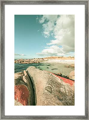 Retro Filtered Beach Background Framed Print by Jorgo Photography - Wall Art Gallery