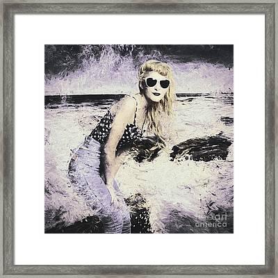 Retro Fine Art Beach Pinup Framed Print by Jorgo Photography - Wall Art Gallery