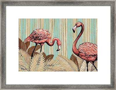 Retro Flamingo Framed Print by Paul Brent