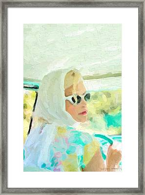 Framed Print featuring the digital art Retro Girl - Road Trip No.1 by Serge Averbukh