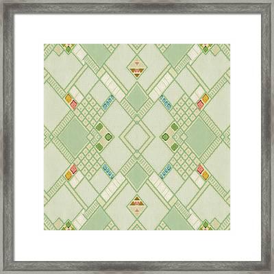 Framed Print featuring the digital art Retro Green Diamond Tile Vintage Wallpaper Pattern by Tracie Kaska