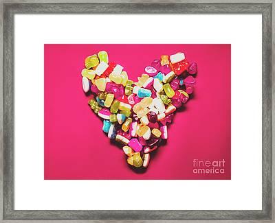 Retro Gummy Lolly Love Framed Print