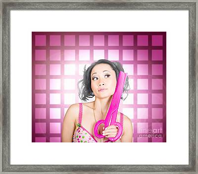 Retro Hairdresser Holding Big Pair Of Scissors Framed Print by Jorgo Photography - Wall Art Gallery