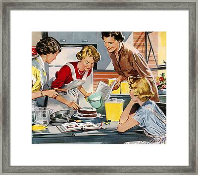 Framed Print featuring the digital art Retro Home by Reinvintaged