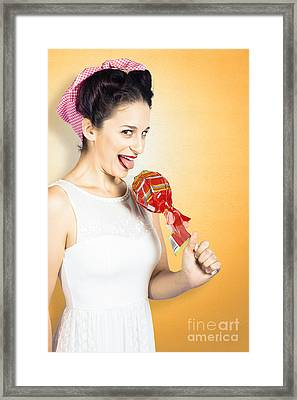 Retro Housewife Craving Sweet Candy Framed Print by Jorgo Photography - Wall Art Gallery