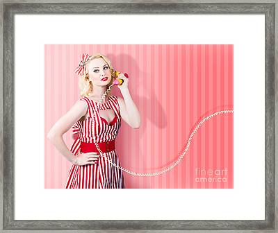 Retro Housewife In 50s Fashion On Vintage Phone Framed Print by Jorgo Photography - Wall Art Gallery