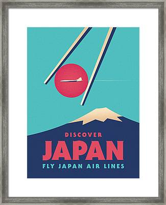 Retro Japan Mt Fuji Tourism - A Framed Print by Ivan Krpan