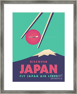Retro Japan Mt Fuji Tourism - Green Framed Print