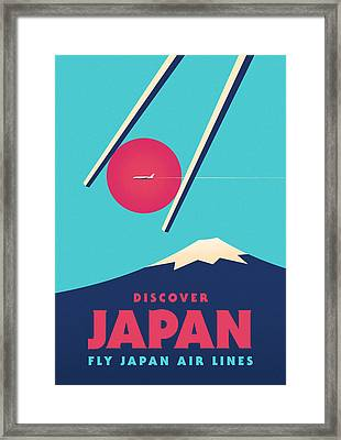 Retro Japan Mt Fuji Tourism V1 Framed Print by Ivan Krpan