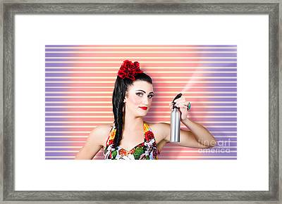 Retro Lady Doing Cleaning Chores Framed Print